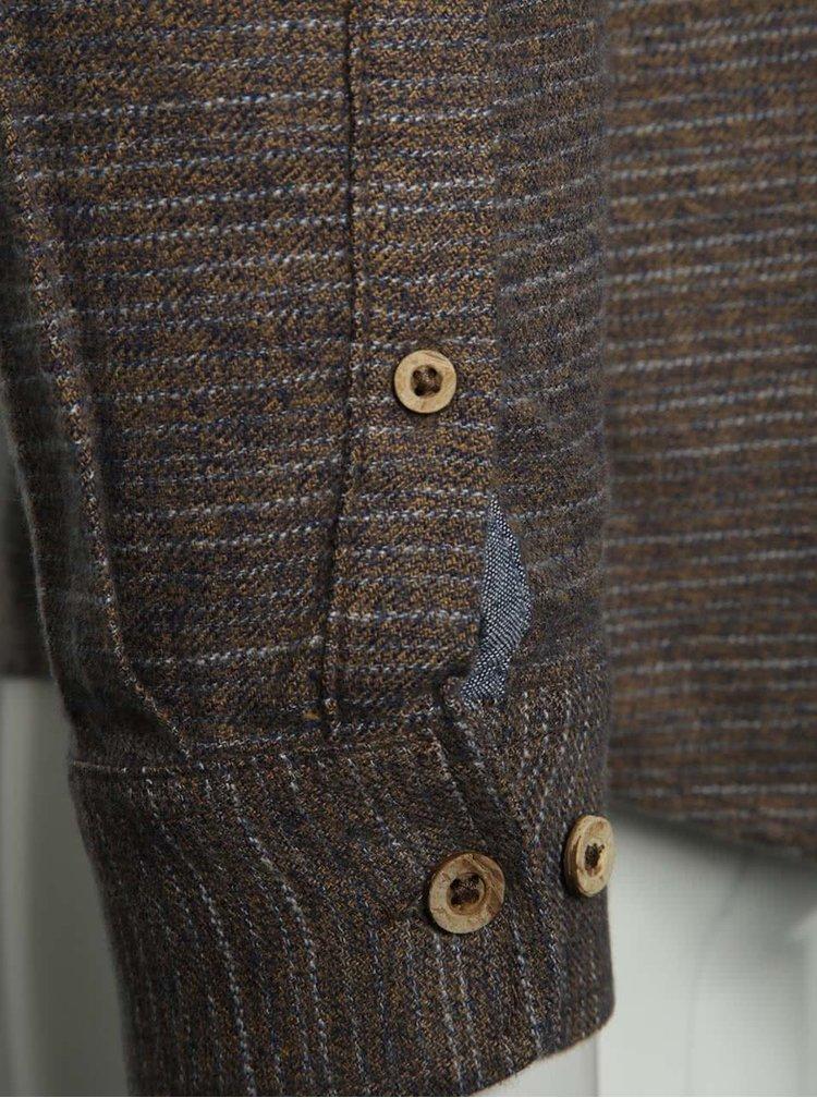 Camasa maro Burton Menswear London din bumbac cu model in dungi