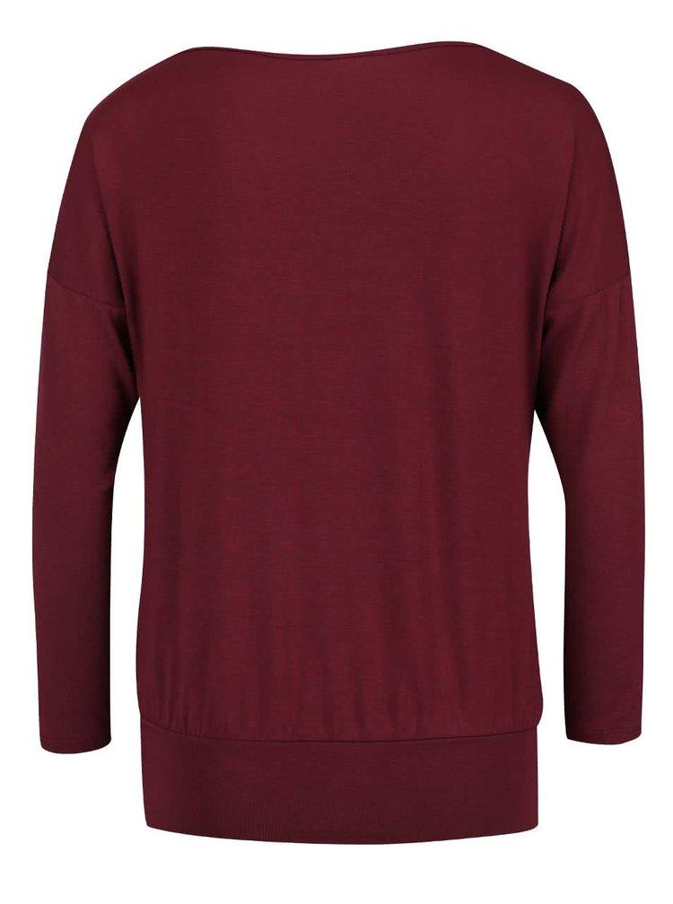 Bluză roșu burgundy ZOOT cu model petrecut
