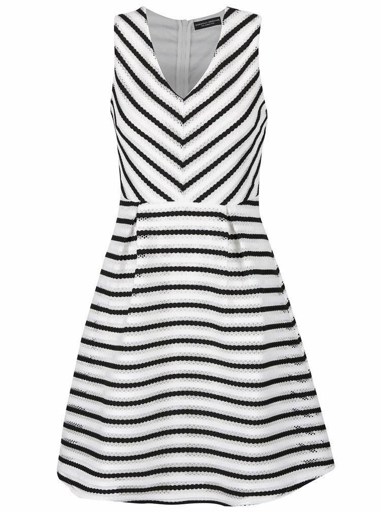 Černo-krémové pruhované šaty s véčkovým výstřihem Dorothy Perkins
