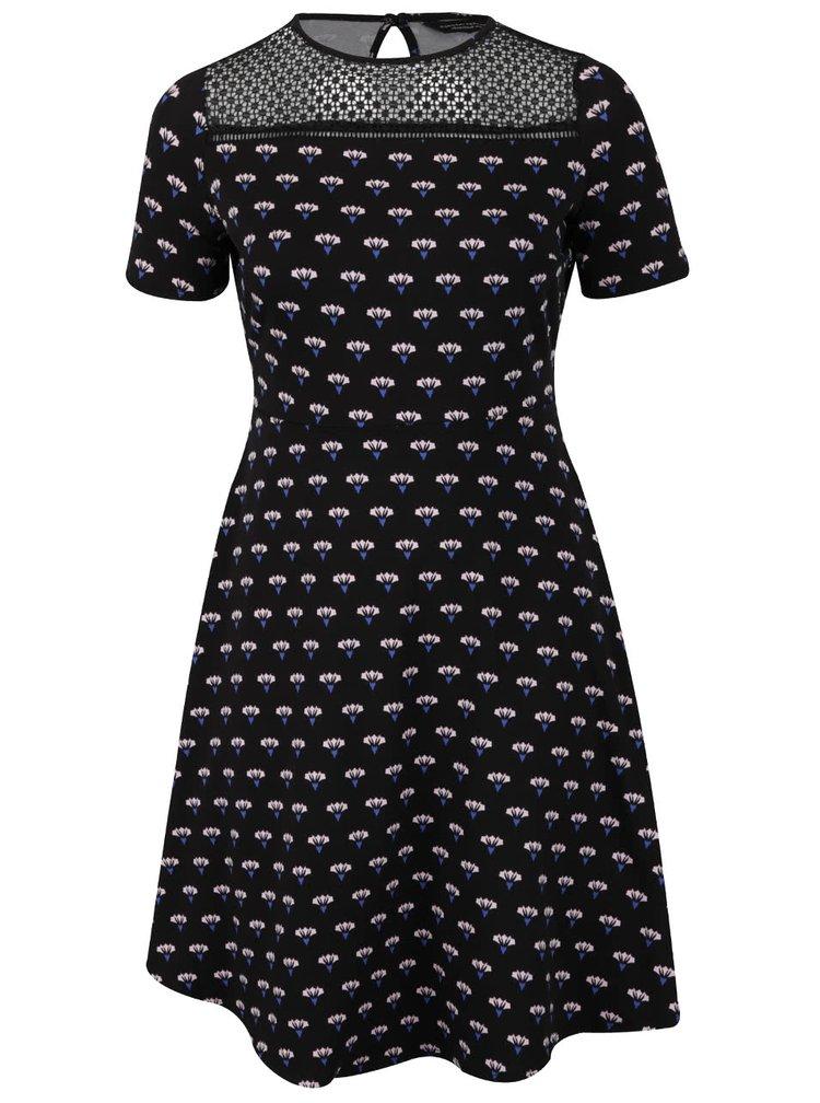 Černé šaty s potiskem květin Dorothy Perkins Curve