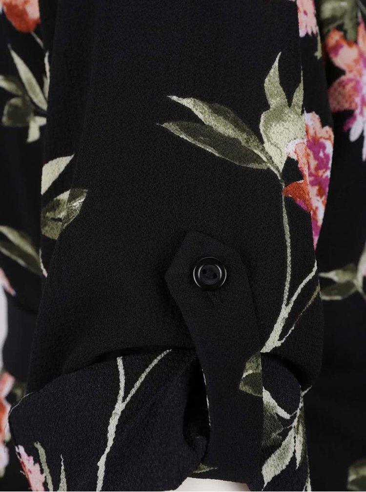 Černé těhotenské květované šaty s překládaným výstřihem Dorothy Perkins Maternity
