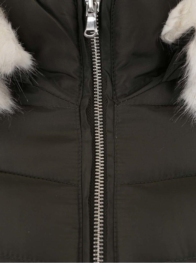 Khaki prošívaný kabát s kapucí a umělým kožíškem Dorothy Perkins