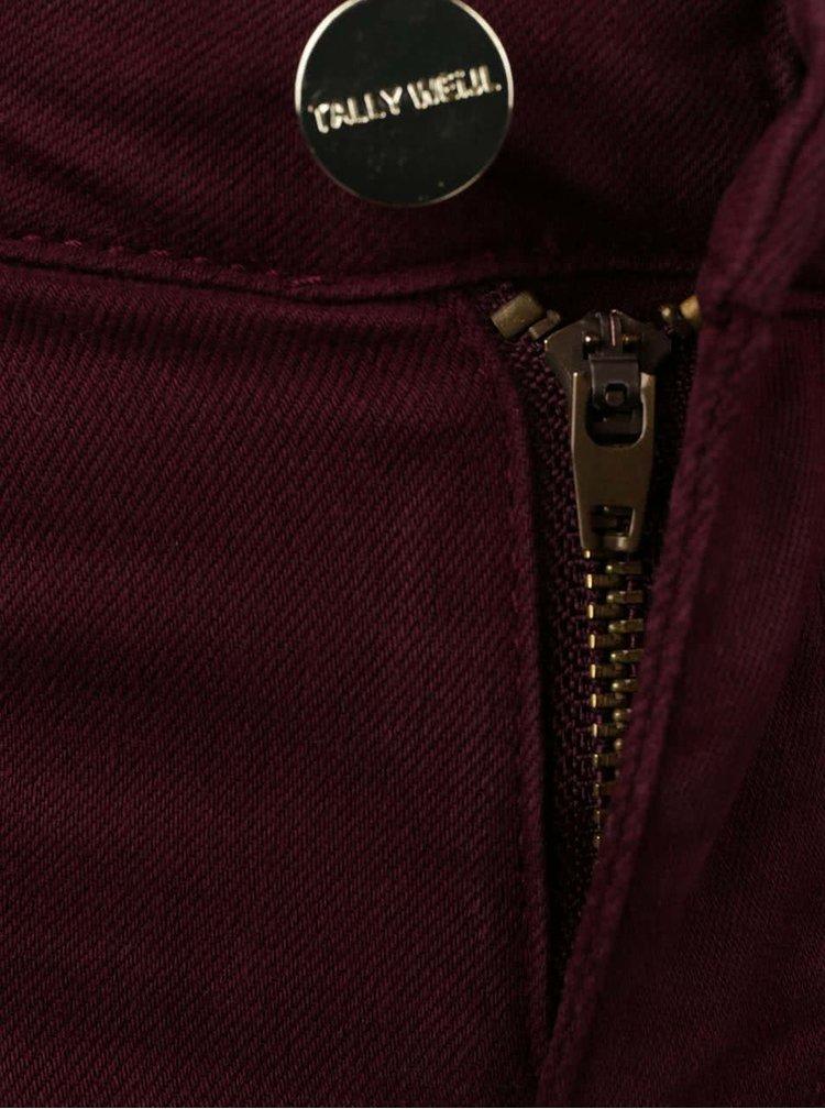 Vínové skinny džíny s ozdobnými zipy TALLY WEiJL