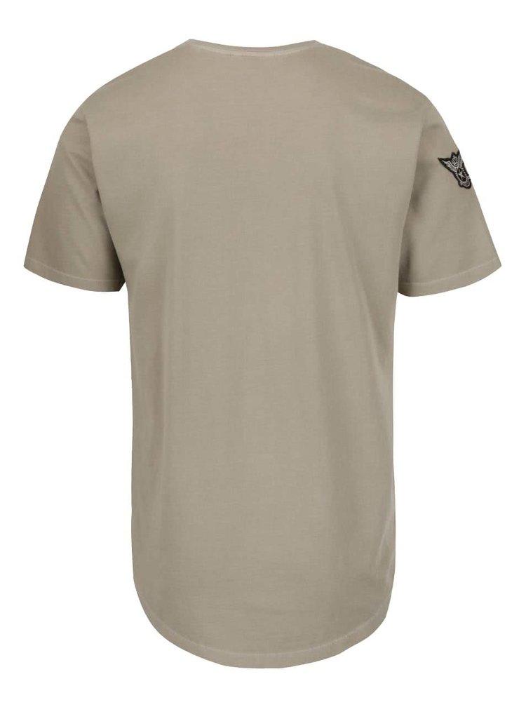 Světle hnědé triko s nášivkami ONLY & SONS Faba