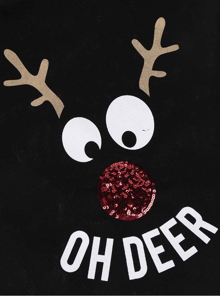Geantă neagră de pânză TALLY WEiJL cu motive de Crăciun