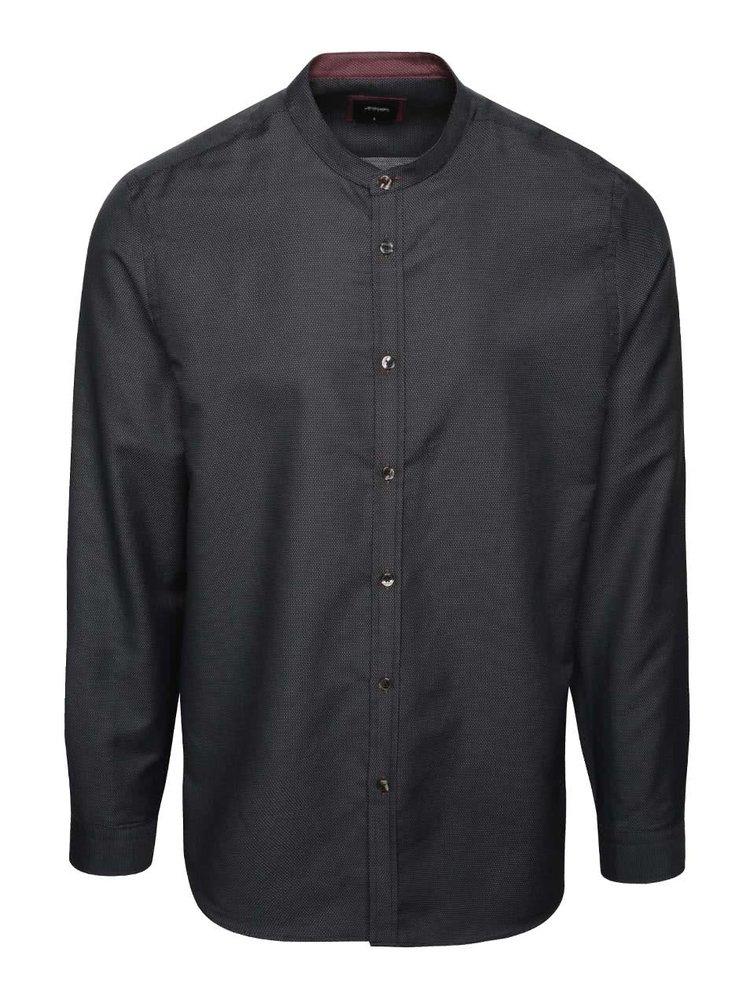 Černá puntíkovaná košile bez límečku Burton Menswear London