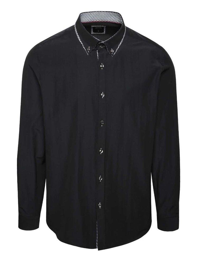 Černá košile se vzorovaným límečkem Burton Menswear London