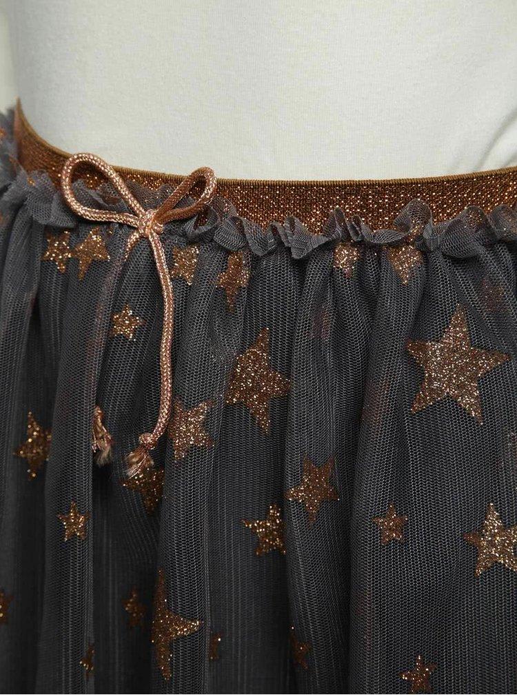 Set bluză crem & fustă gri din tulle cu imprimeu 5.10.15.
