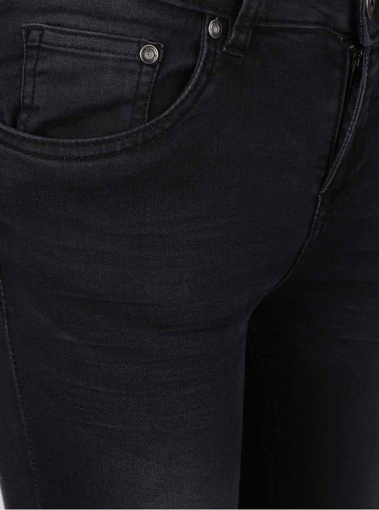 Tmavě šedé dámské skinny džíny s vyšisovaným efektem Cars Tyra