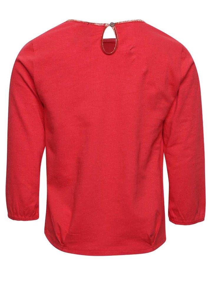 Červené holčičí tričko s flitrovanou aplikací hvězd 5.10.15.
