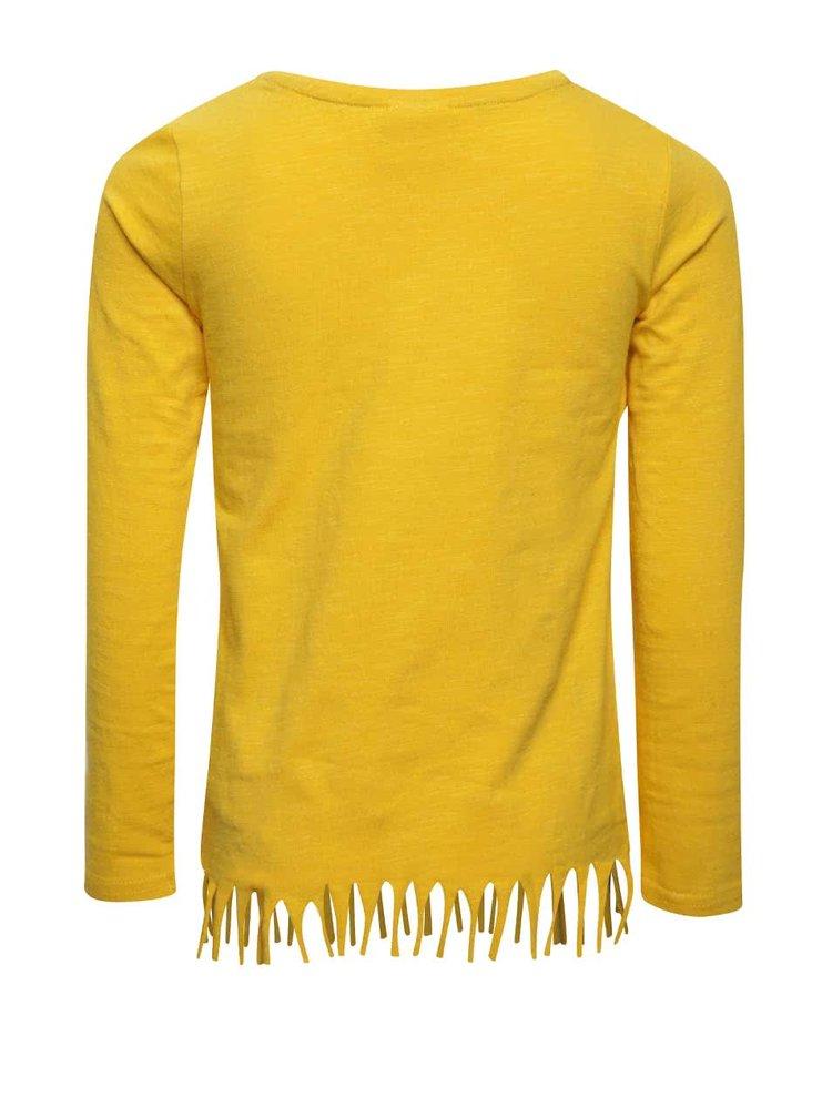 Žluté holčičí tričko s třásněmi a aplikací ve tvaru srdce 5.10.15.