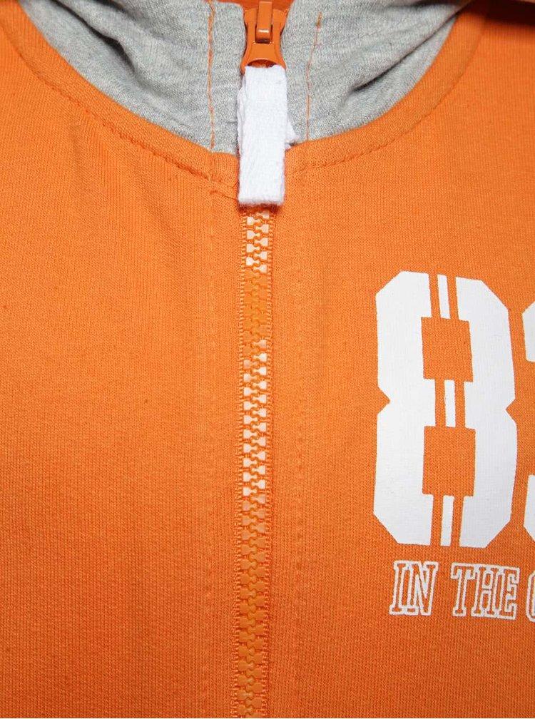 Šedo-oranžová klučičí mikina s kapucí 5.10.15.