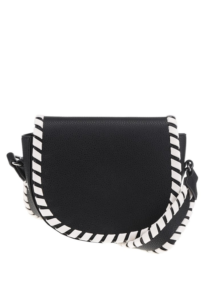 Geanta crossbody neagra French Connection Whipstitch cu detalii contrast