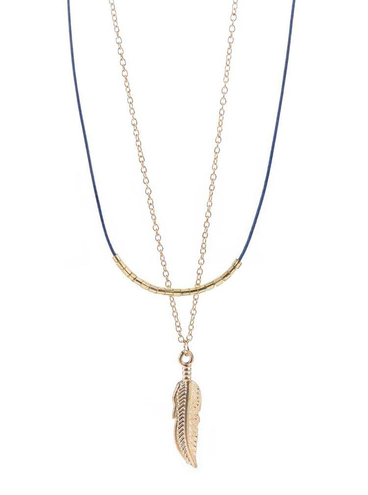 Náhrdelník s přívěškem pírka ve zlaté a modré barvě Haily´s