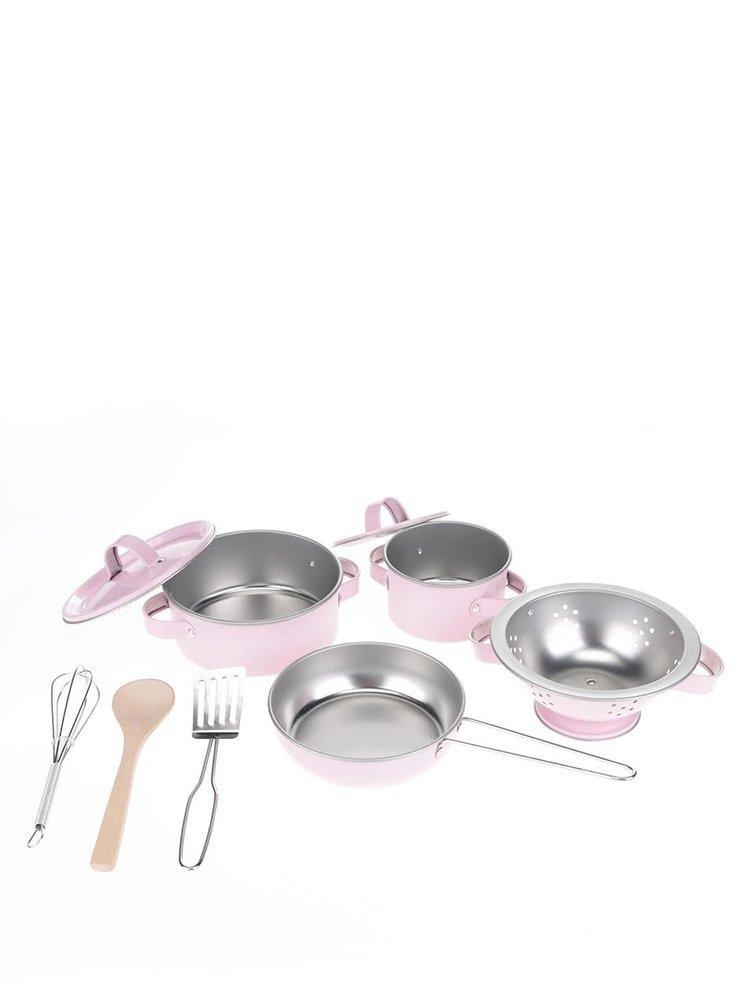 Růžový set dětského kuchyňského nádobí v kufříku Sass & Belle