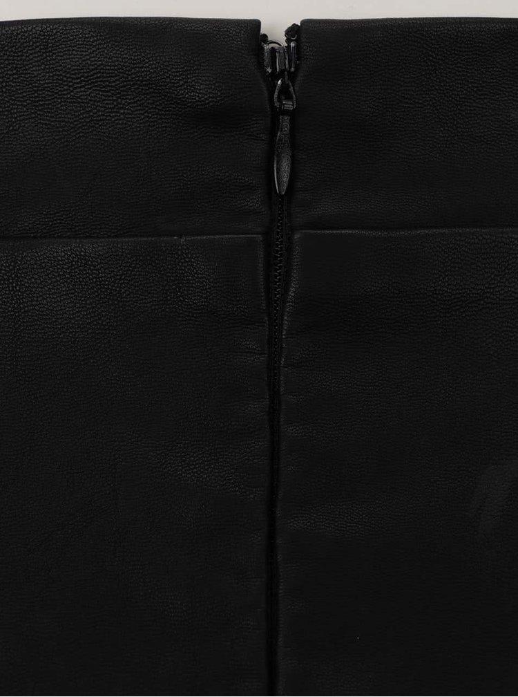 Fustă cloș neagră Noisy May Anna cu aspect piele