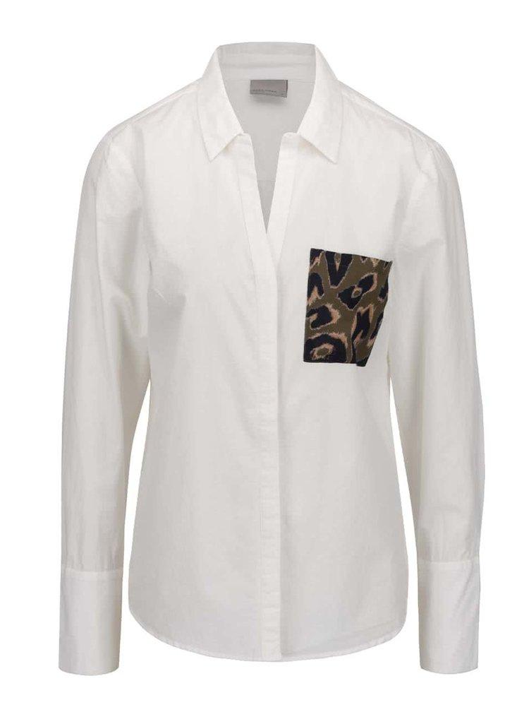 Krémová košile s vzorovanou kapsou VERO MODA Dina