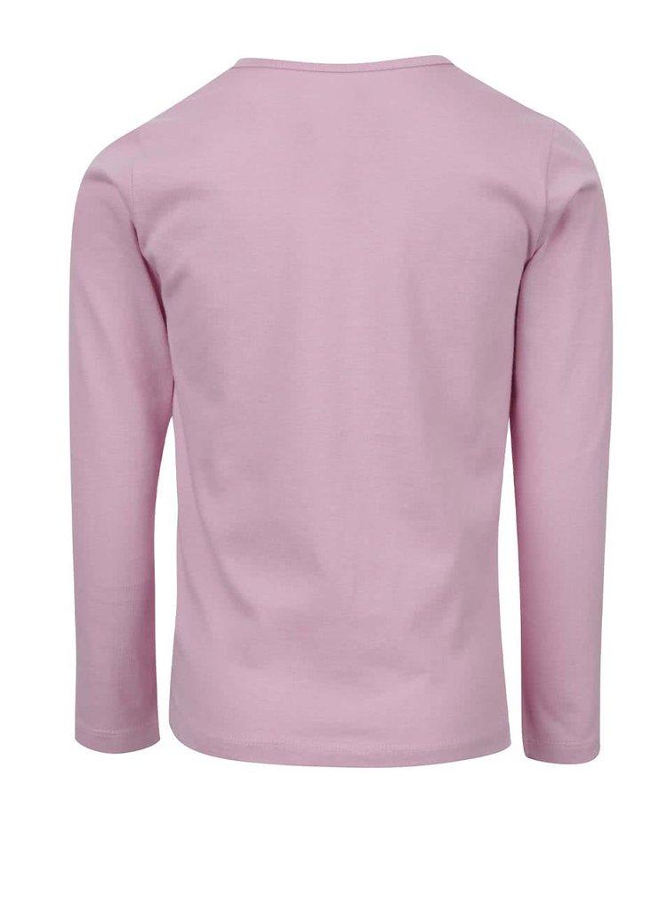 Světle růžové holčičí tričko s potiskem a dlouhým rukávem LEGO Wear