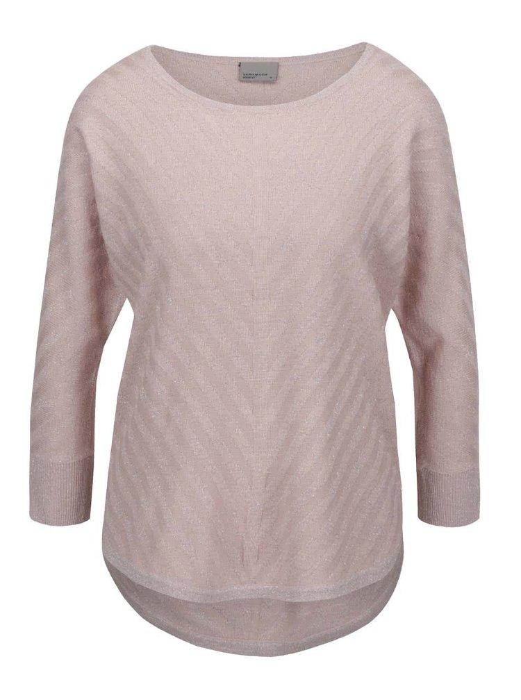 Starorůžový svetr s odlesky ve stříbrné barvě a 3/4 rukávem VERO MODA Sandra
