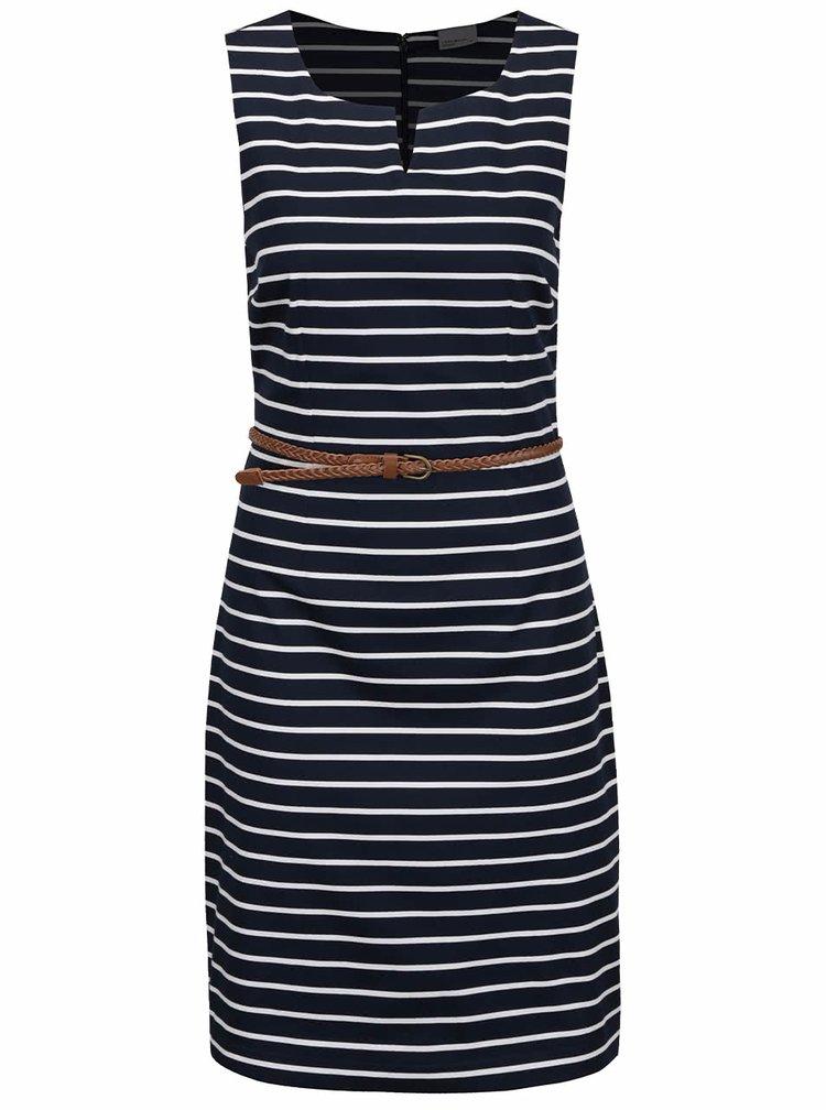 Krémovo-modré pruhované šaty s páskem VERO MODA Pekaya