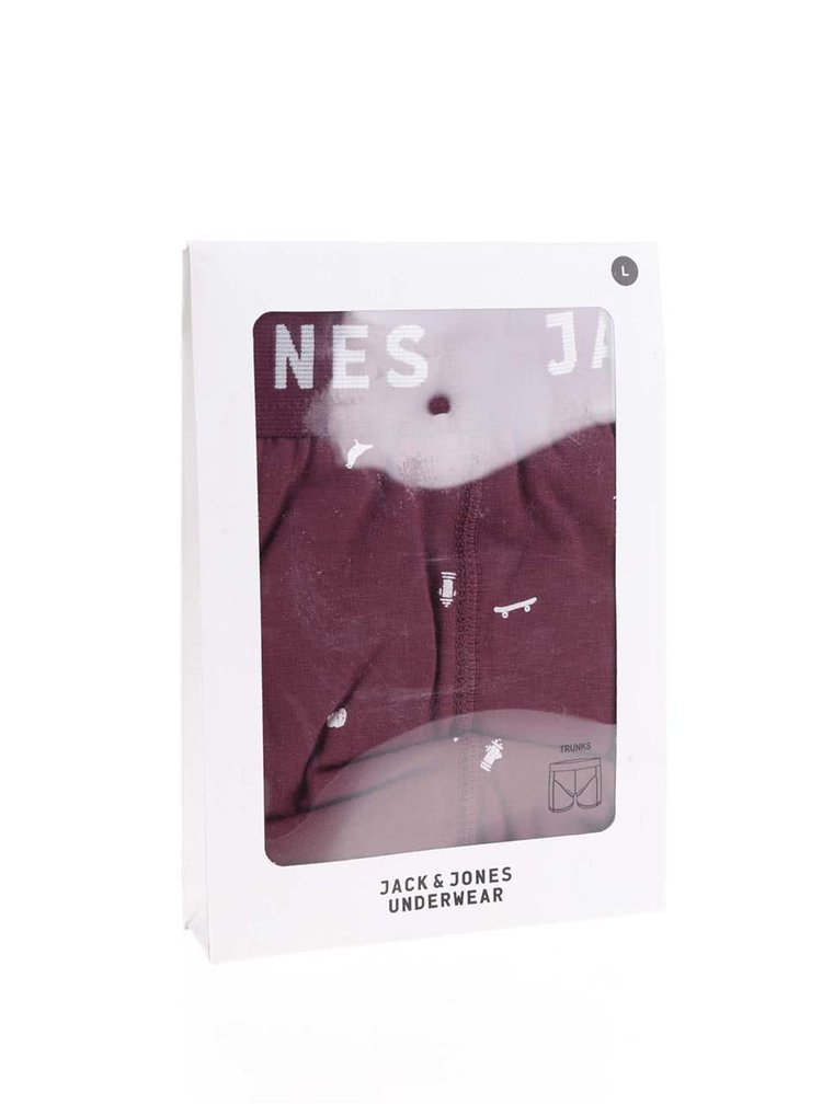 Boxeri rosu Bordeaux cu imprimeu Jack & Jones Univers