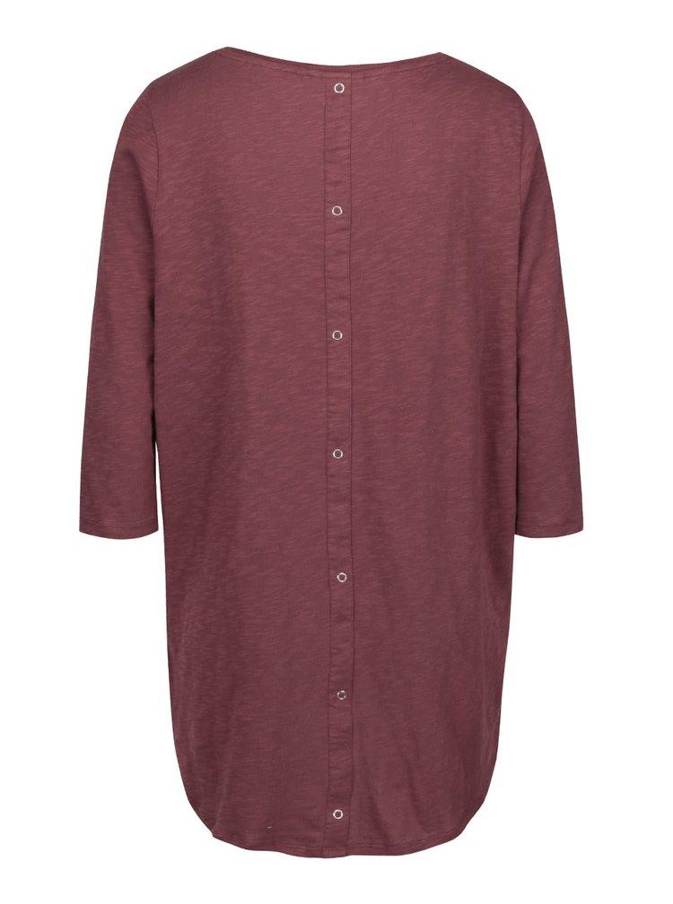 Bluza asimetrica rosu Bordeaux cu maneci trei sferturi ONLY Casa