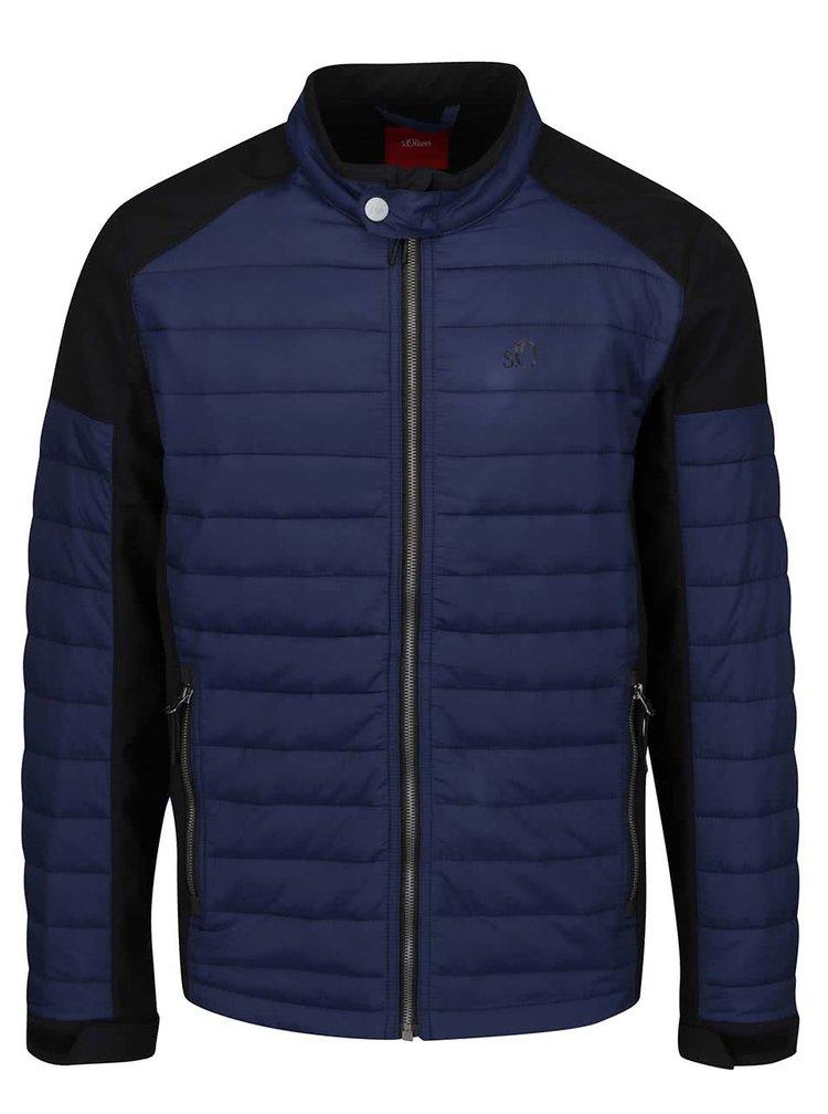 Černo-modrá prošívaná pánská bunda s.Oliver