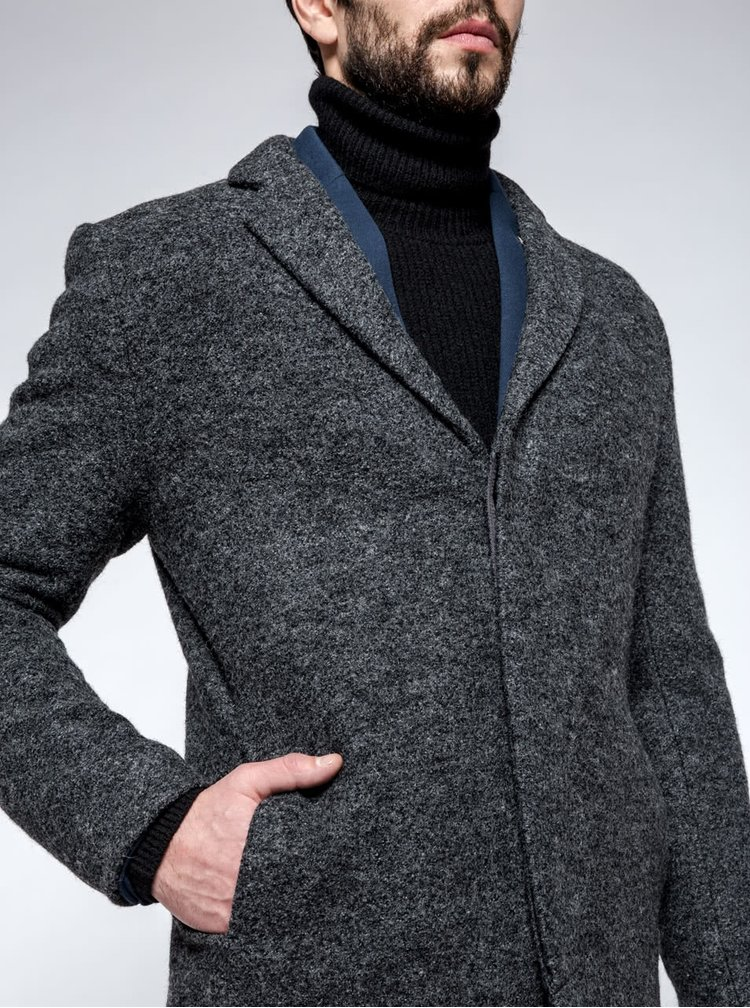 Palton gri închis Selected Homme Brook Boucle