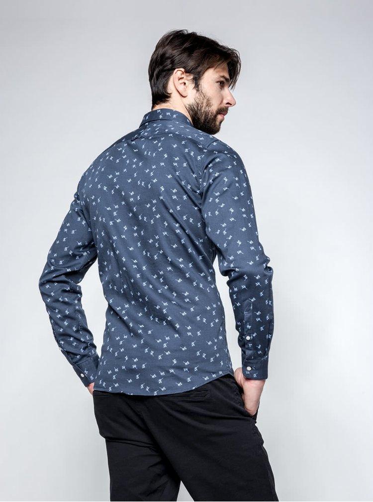 Modrá slim fit vzorovaná košeľa Selected Homme One Karl