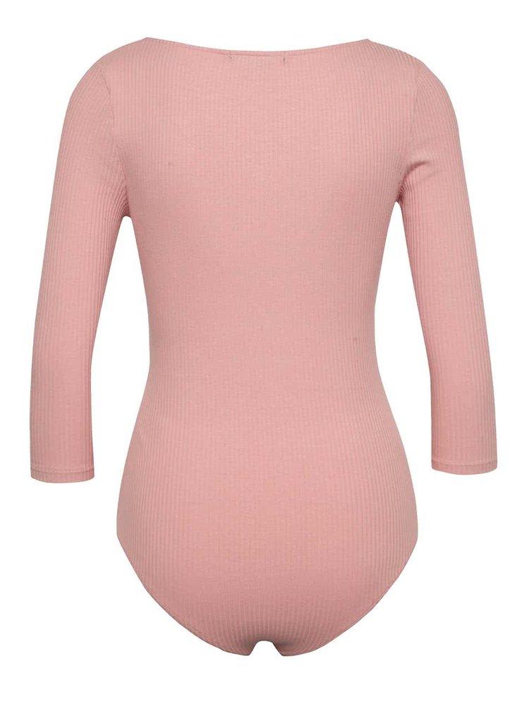 Růžové žebrované body se zipem v růžovozlaté barvě TALLY WEiJL