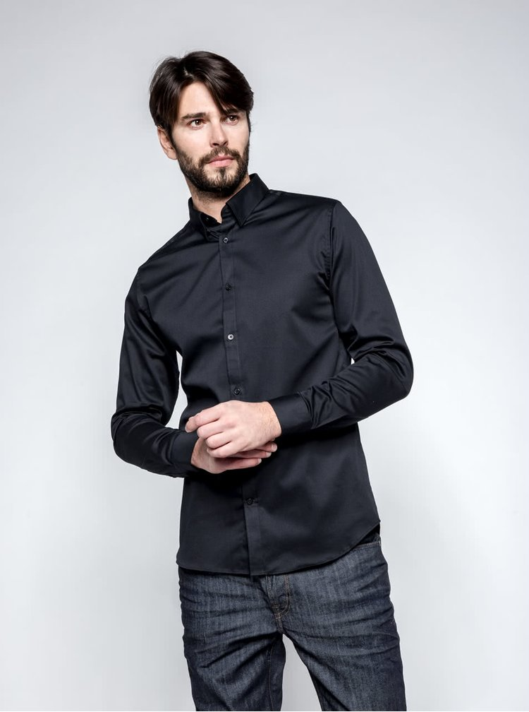 Cămașă neagră Selected Homme Done slim fit