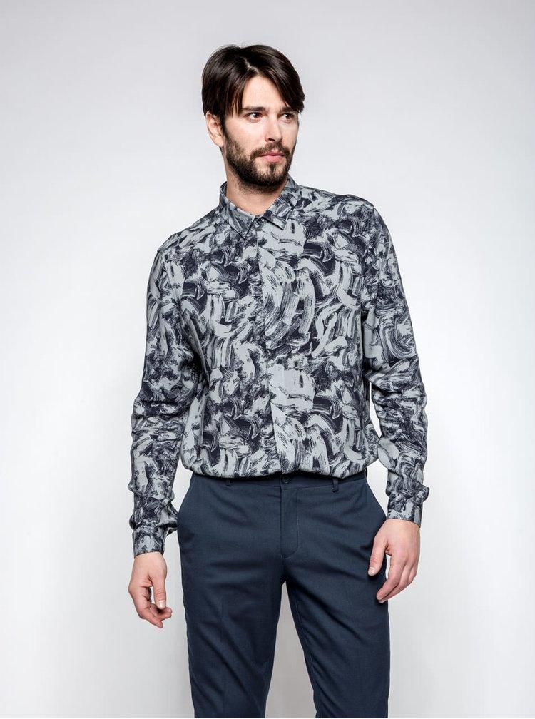 Černo-šedá vzorovaná košile Burton Menswear London