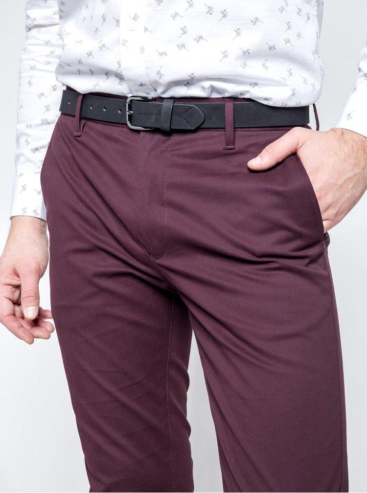 Hnědovínové slim chino kalhoty s páskem Burton Menswear London