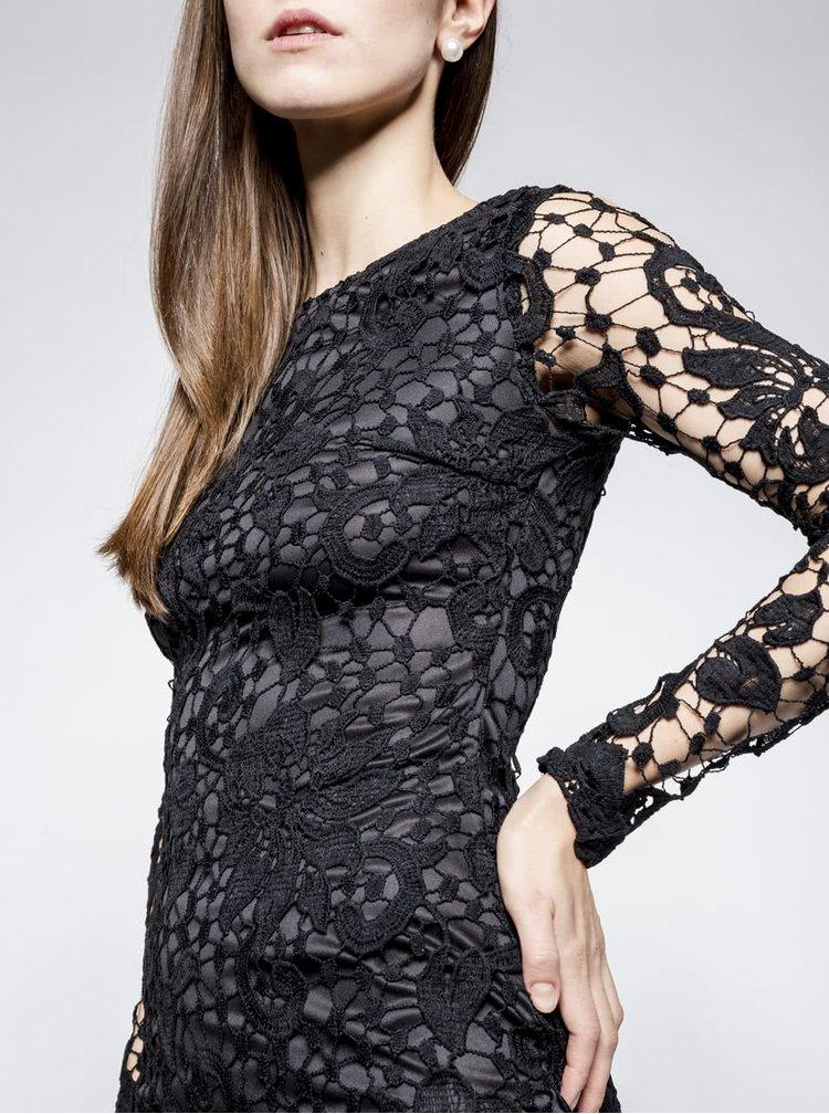 Černé krajkové šaty s dlouhým rukávem AX Paris