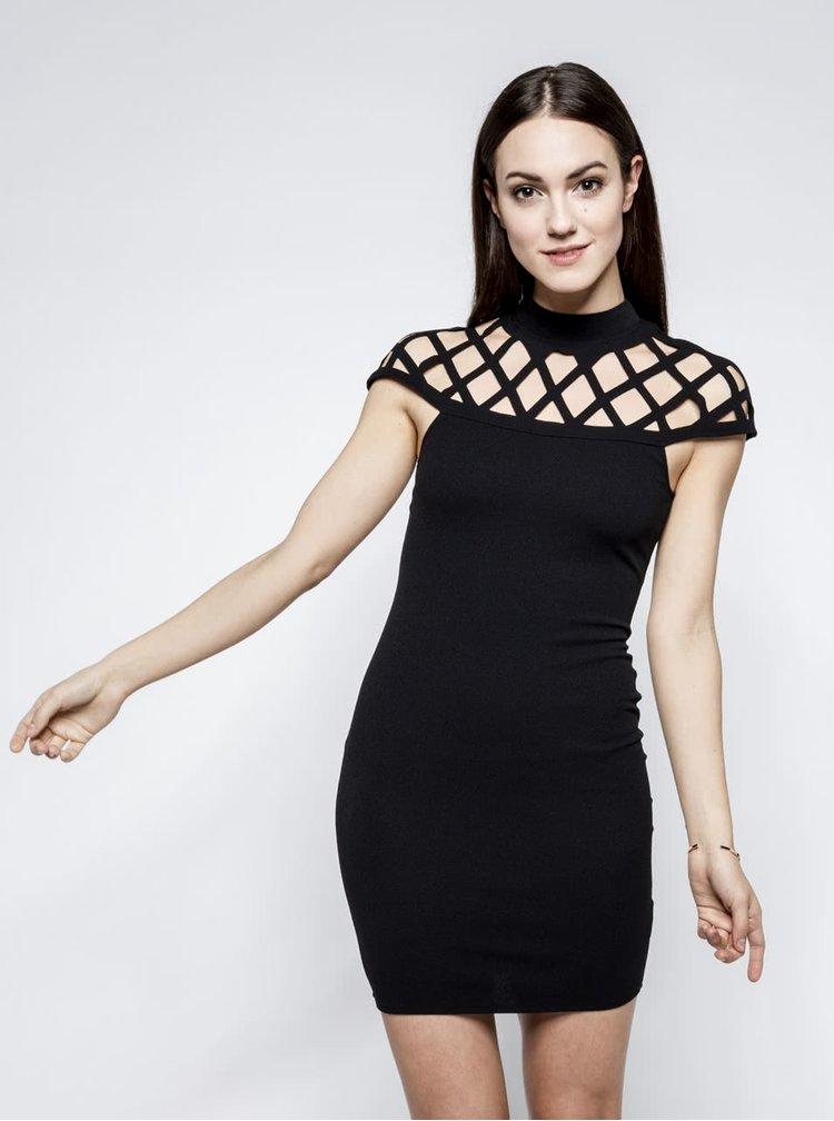 Černé mini šaty s páskovým dekoltem AX PAris