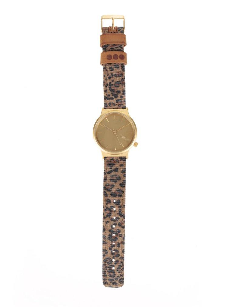 Dámské hodinky ve zlaté barvě se vzorovaným páskem Komono Wizard Print