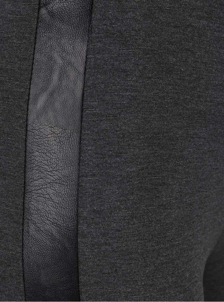 Tmavě šedé legíny s koženkovými detaily ZOOT