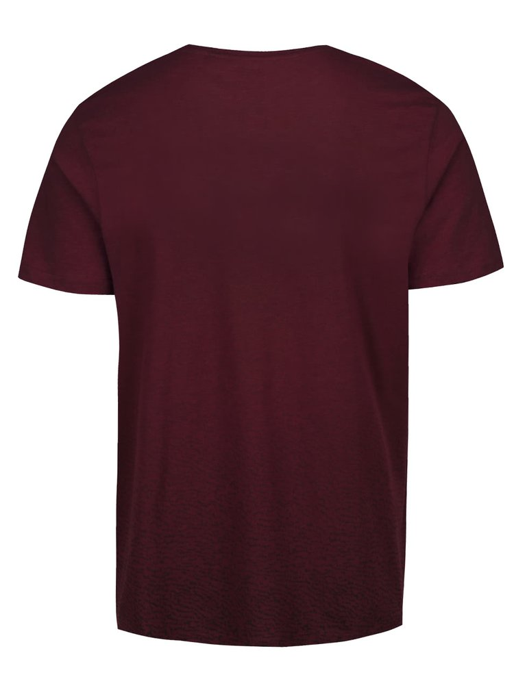 Vínové triko s jemným vzorem Burton Menswear London