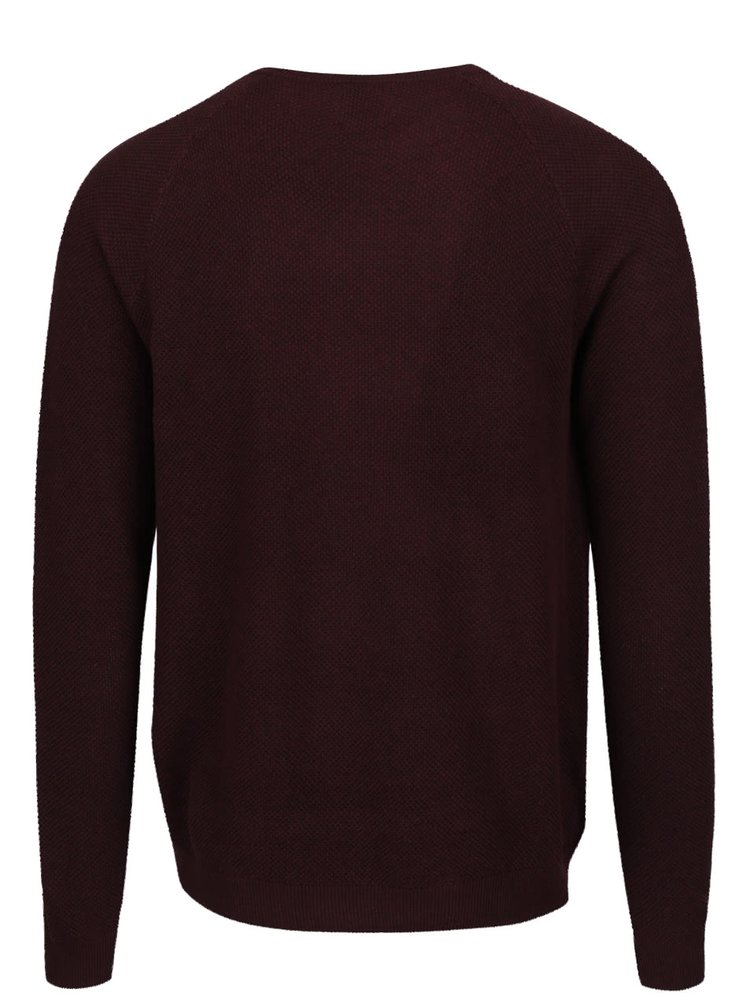 Pulover rosu burgundy Burton Menswear London