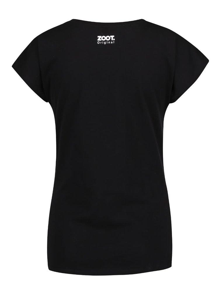 Tricou negru ZOOT Original Life begins after coffee din bumbac pentru femei