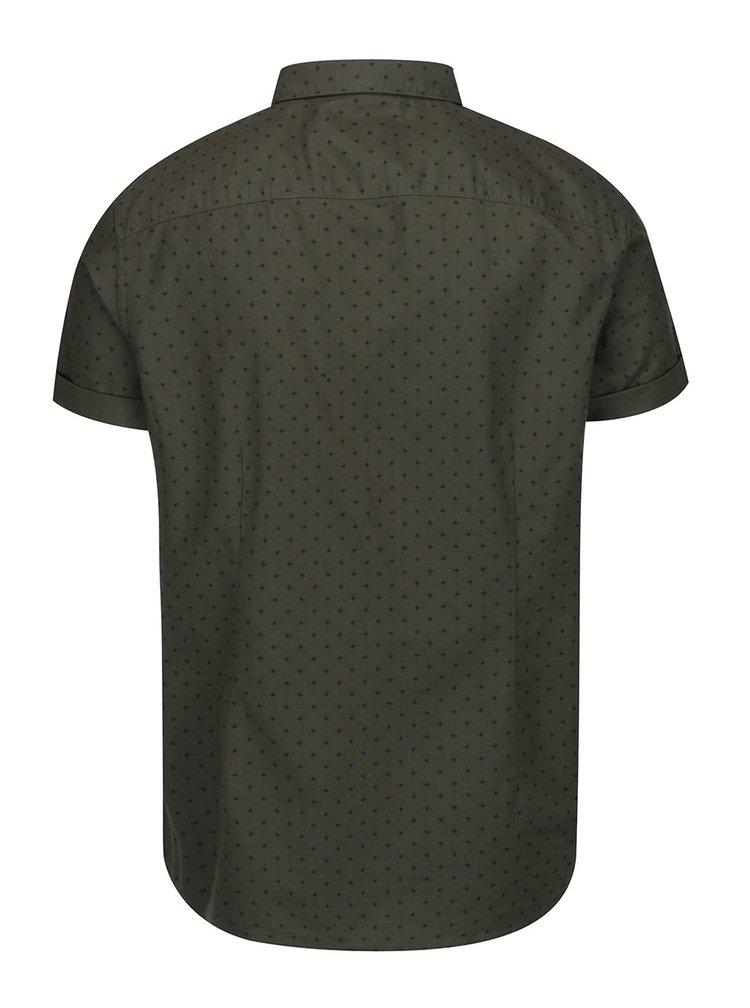 Khaki vzorovaná košile s krátkým rukávem Burton Menswear London
