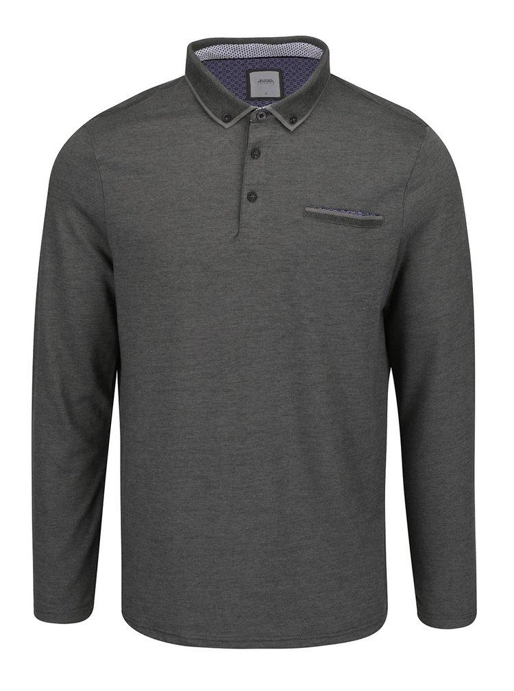 Bluza polo gri melanj Burton Menswear London