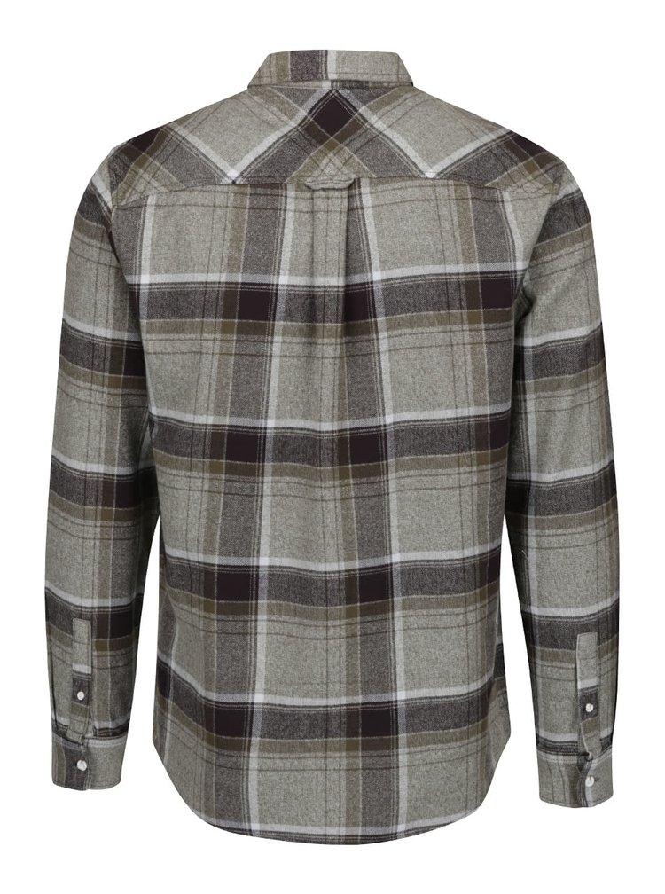 Černo-zelená flanelová kostkovaná košile Burton Menswear London