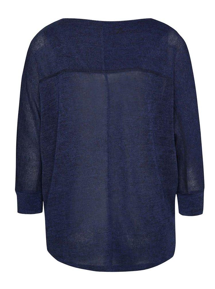 Tmavě modrý lehký průsvitný svetr 3/4 rukávy Desigual
