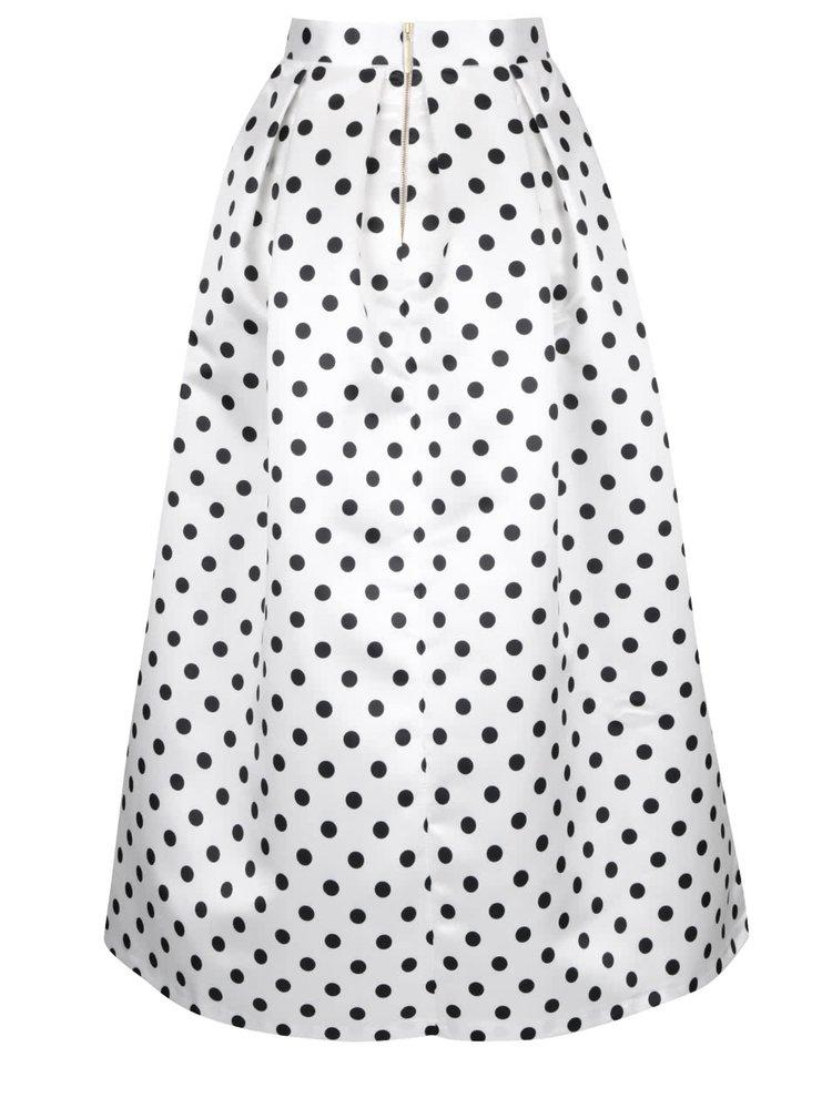Černo-bílá lesklá maxi sukně s puntíky Closet