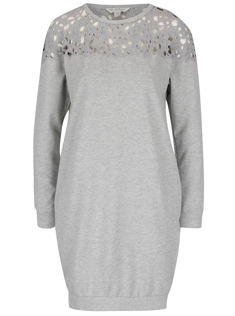 Svetlosivé mikinové šaty s čipkovanými ramenami Miss Selfridge