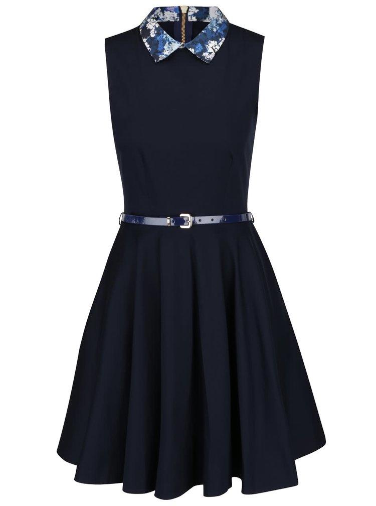 Rochie albastru inchis Closet cu guler cu model floral