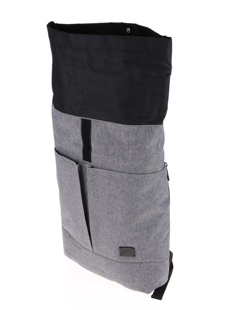 Černo-šedý unisex batoh s klopou Spiral Detroit 15 l