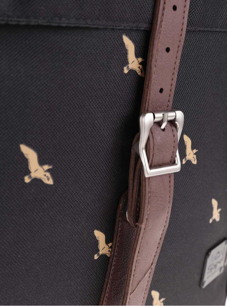 Černý unisex batoh s motivem ptáků Spiral Bird 16 l