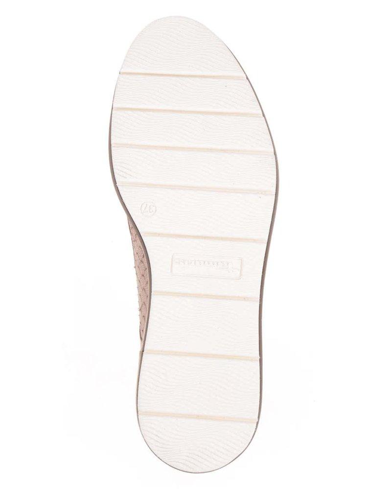 Pantofi maro deschis Tamaris din piele cu model